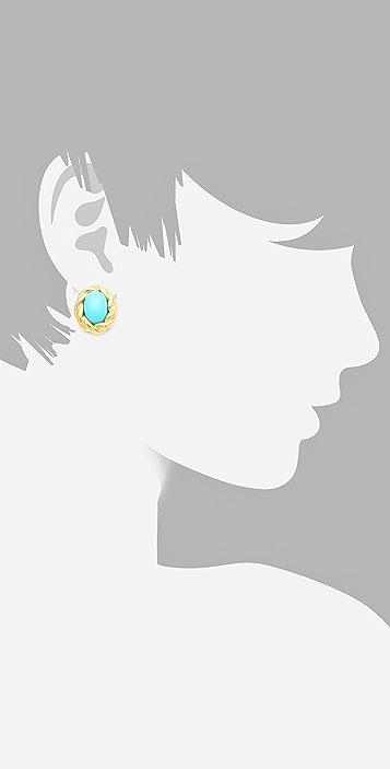 Kenneth Jay Lane Gold Twist Cabochon Stud Earrings
