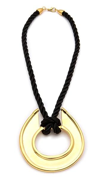 Kenneth Jay Lane Black Satin Cord Pendant Necklace