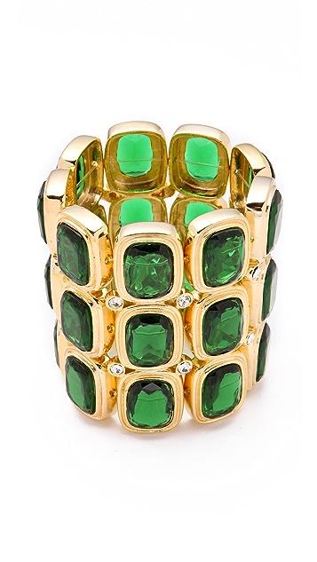 Kenneth Jay Lane Polished Gold & Crystal Wide Bracelet