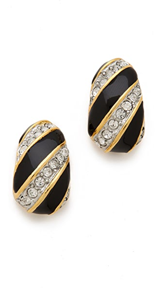 Kenneth Jay Lane Enamel & Crystal Half Hoop Earrings
