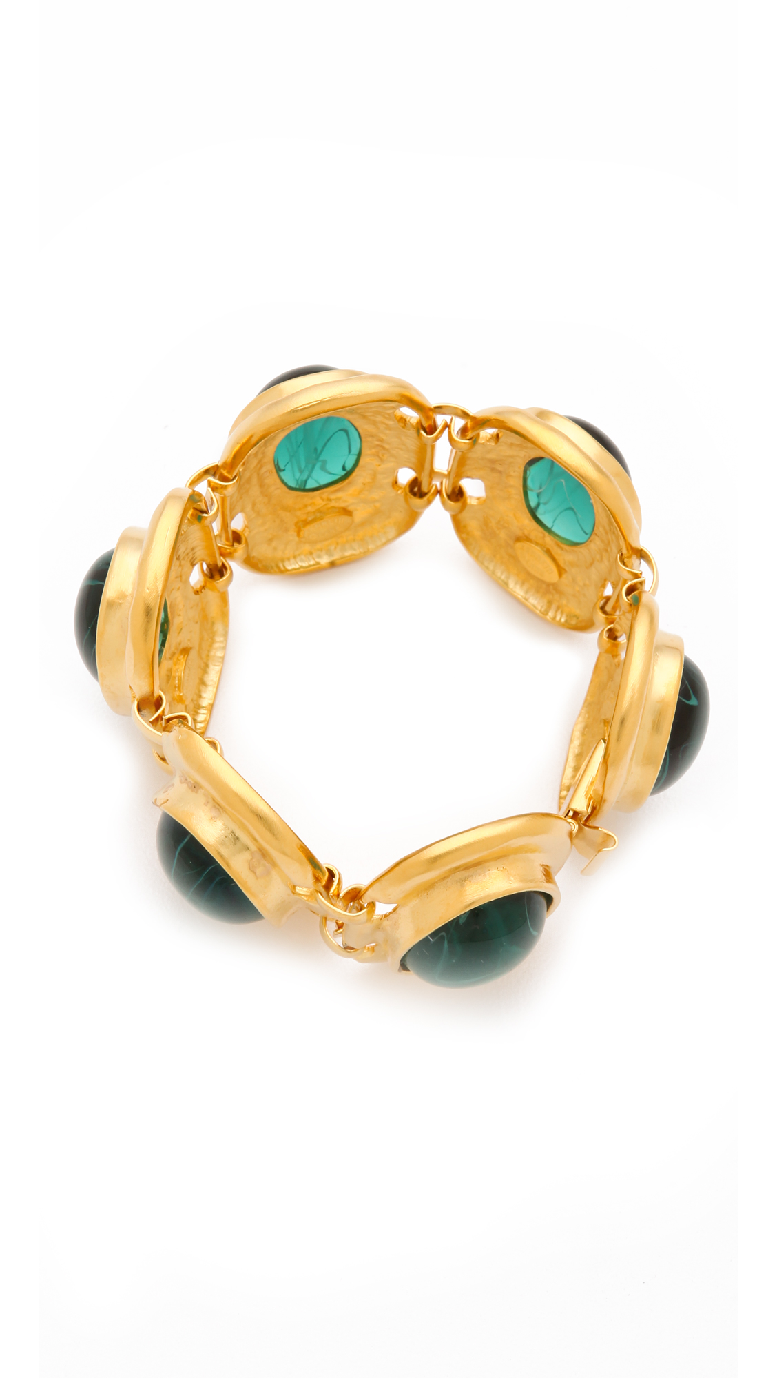 Kenneth Jay Lane Emerald Cabochon Bracelet Emerald