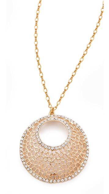 Kenneth Jay Lane Filigree & Crystal Pendant Necklace