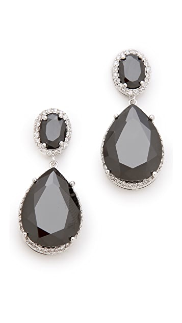 Kenneth Jay Lane Oval Double Drop Earrings