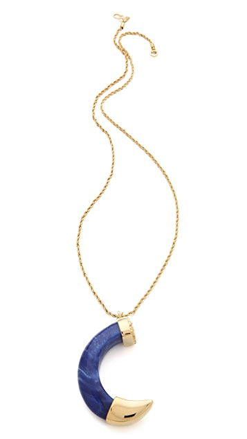 Kenneth Jay Lane Large Lapis Tusk Pendant Necklace