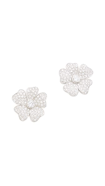 Kenneth Jay Lane Medium Pansy Pave Earrings