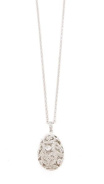 Kenneth Jay Lane Faberge Egg Pendant Necklace