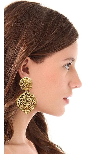 Kenneth Jay Lane Filigree Clip Earrings