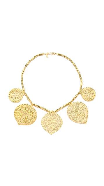 Kenneth Jay Lane Filigree 5 Drop Hook Necklace
