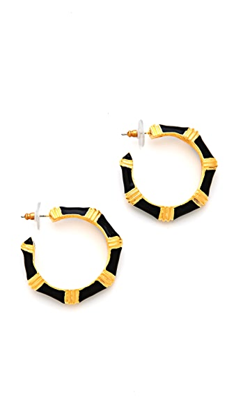 Kenneth Jay Lane Thick  Hoop Earrings