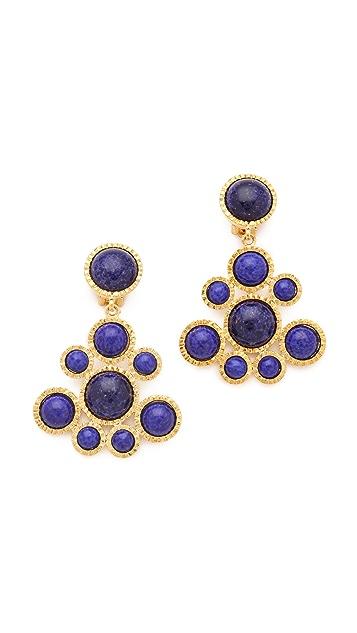 Kenneth Jay Lane Lapis Cluster Drop Earrings