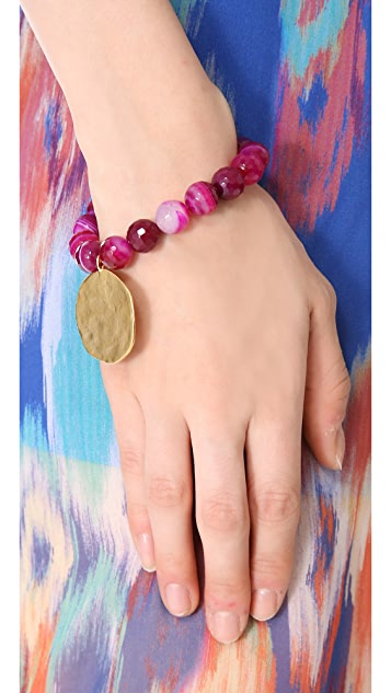 Kenneth Jay Lane Agate Bead Coin Stretch Bracelet