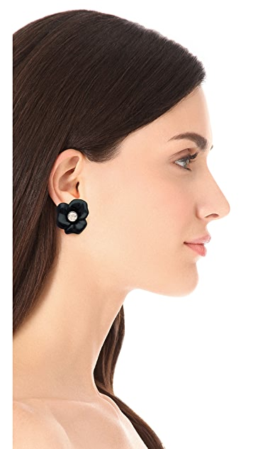 Kenneth Jay Lane Crystal Flower Earrings