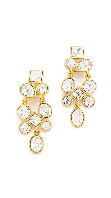 Kenneth Jay Lane Crystal Cluster  Clip On Earrings