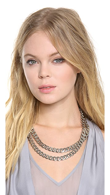 Kenneth Jay Lane Double Layer Chain Necklace