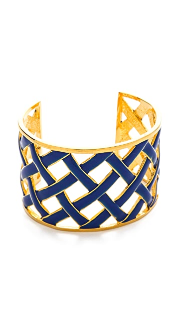 Kenneth Jay Lane Cross Woven Cuff Bracelet