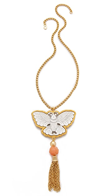 Kenneth Jay Lane Butterfly Tassel Necklace