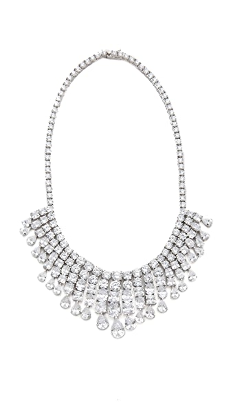 Kenneth Jay Lane Multi CZ Fringe Statement Necklace