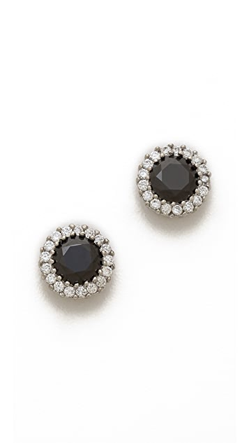 Kenneth Jay Lane Round CZ Pave Trim Stud Earrings