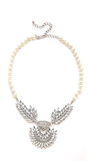 Kenneth Jay Lane Imitation Pearl & Crystal Necklace