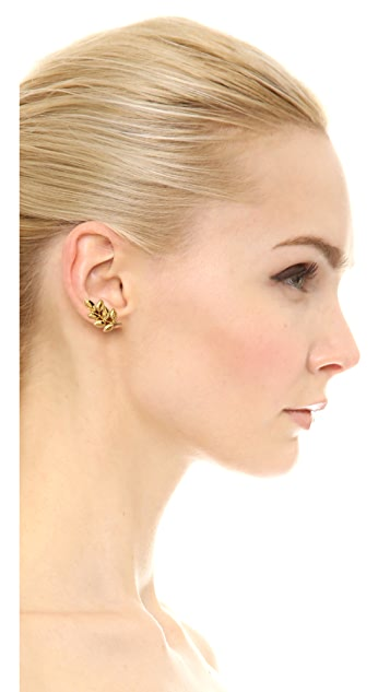 Kenneth Jay Lane Crystal Leaf Earrings