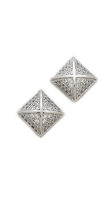Kenneth Jay Lane Pave Pyramid Earrings