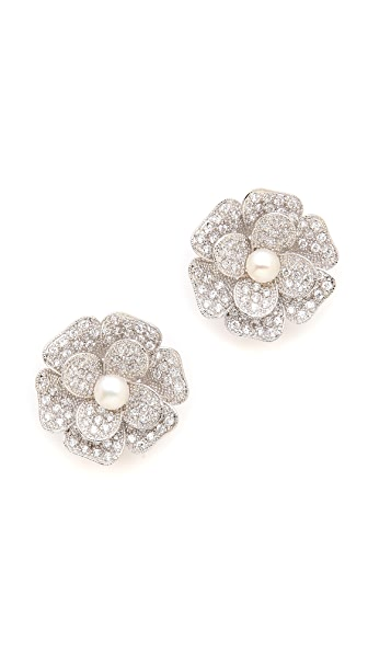 Kenneth Jay Lane Pave Flower Earrings