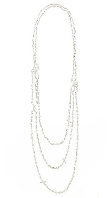 Kenneth Jay Lane Baguette Triple Row Necklace
