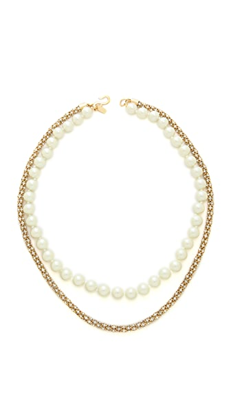 Kenneth Jay Lane Imitation Pearl Crystal Rope Necklace