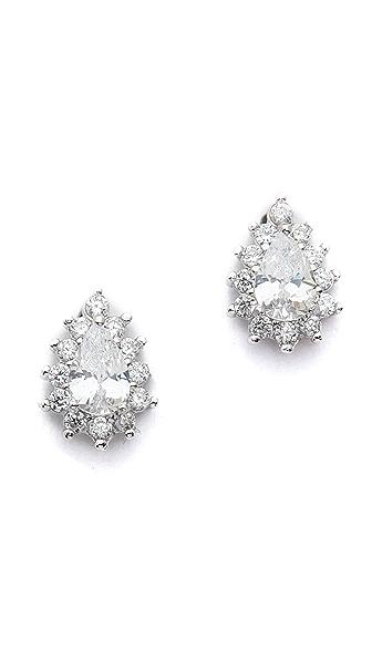Kenneth Jay Lane Mini Halo Pear CZ Stud Earrings In Clear