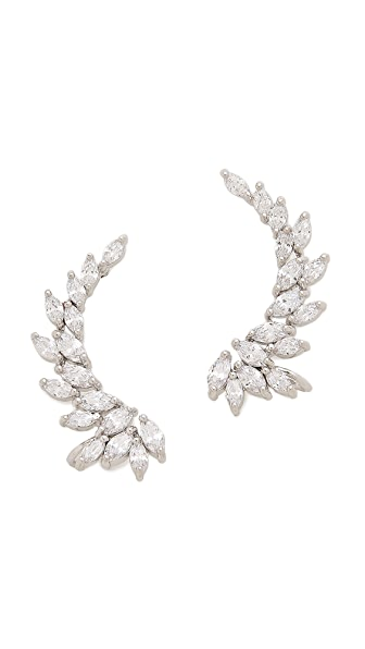 Kenneth Jay Lane Marquis Winged CZ Ear Crawlers - Clear