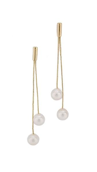 Kenneth Jay Lane Imitation Pearl Dangling Earrings - Gold/Pearl