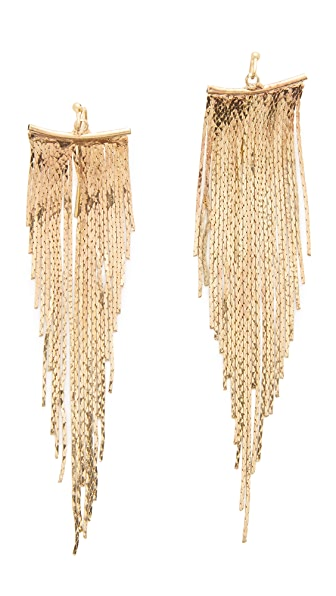 Kenneth Jay Lane Polished Fringe Earrings - Polished Gold