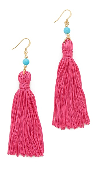 Kenneth Jay Lane Bead & Tassel Earrings - Turquoise/Pink