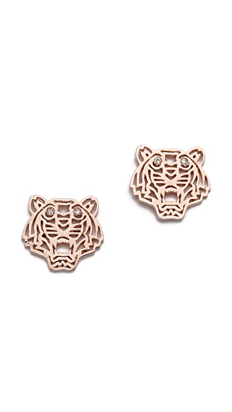 KENZO Mini Tiger Earrings - Pink Gold