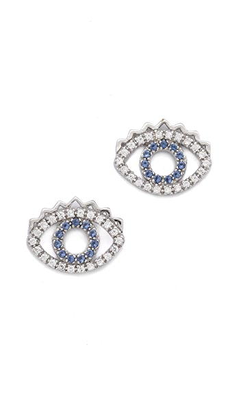 KENZO Mini Eye Earrings - Blue/Silver