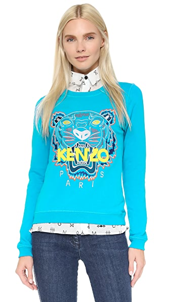 KENZO Tiger Sweatshirt - Cyan