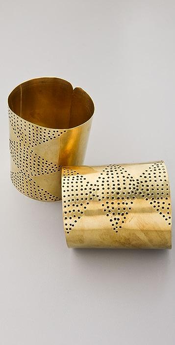 Kora Set of 2 Diamond Brass Cuffs