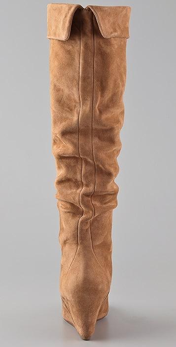 KORS Michael Kors Leah Suede Wedge Boots