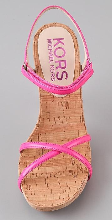 KORS Michael Kors Hudson Cork Platform Sandals