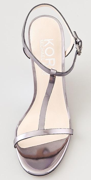 KORS Michael Kors Ruby T Strap Wedge Sandals