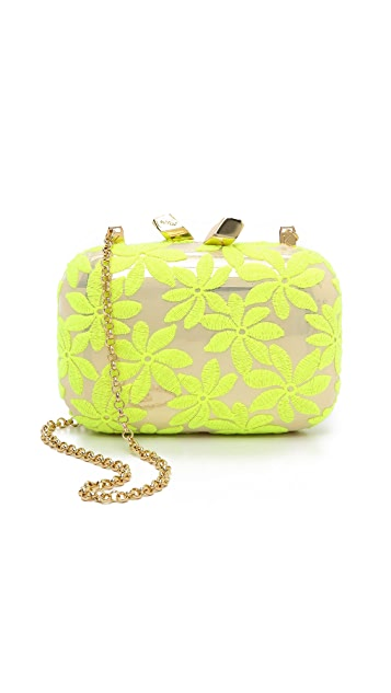 Kotur Margo Clutch with Drop In Chain & Floral Lace