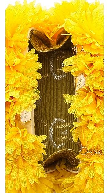 Kotur Margo Clutch with Drop In Chain & Silk Flowers