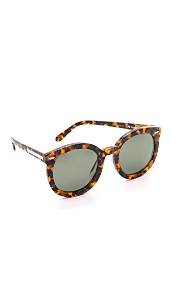 Karen Walker Special Fit Super Duper Strength Sunglasses In Crazy Tort/G15 Mono