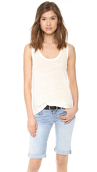 The Lady & The Sailor Linen Tank with Slit