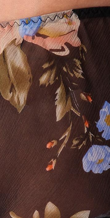 La Fee Verte Silk Floral Shorts