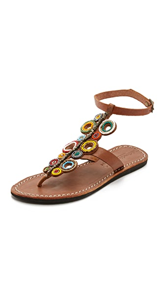 Laidback London Skye Beaded Sandals - Mid Brown/Tribal Ii