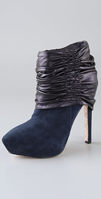 L.A.M.B. Puffy Suede Booties with Ruched Cuff