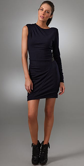 L.A.M.B. One Shoulder Dress with Leather Straps