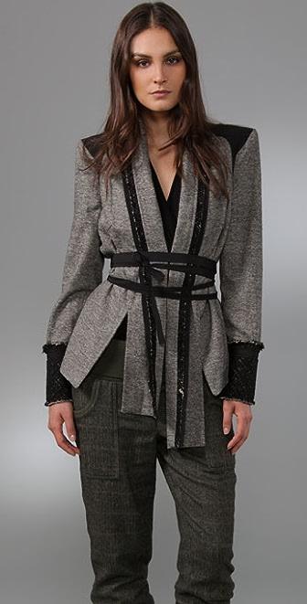 L.A.M.B. Tweed Jacket with Belt