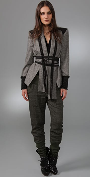 L.A.M.B. Tweed Jacket with Belt